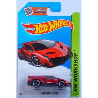 Xe ô tô mô hình tỉ lệ 1:64 Hot Wheels siêu xe Lamborghini Vereno Hw Workshop 189/250 ( Đỏ )