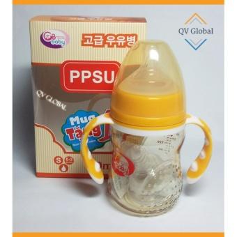 Bình sữa nhựa PPSU GB-Baby 180ml Hàn Quốc có tay cầm - Tặng 1 núm ti siêu mềm