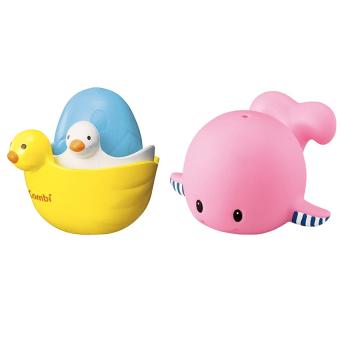Bộ sét đồ chơi tắm đàn vịt con và cá voi hồng phun nước