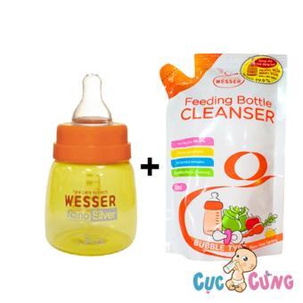 Combo bình sữa wesser nano silver 60ml + nước rữa wesser 500ml