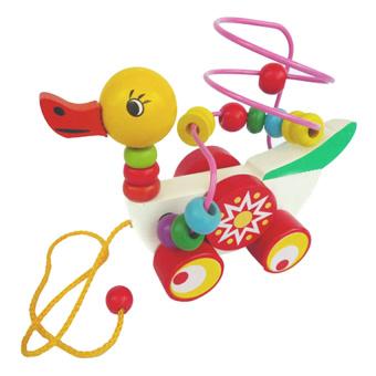 Đồ chơi gỗ xâu chuỗi thông minh dạng xe vịt kéo Đồ Chơi A+ AYX0046 (Đỏ)