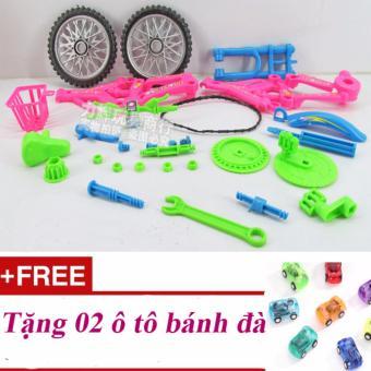 Bộ lắp ráp mô phỏng xe đạp - Quà tặng cho bé nhân dịp Lễ, Tết, sinh nhật; Tặng 02 ô tô bánh đà
