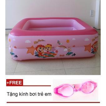 Bể bơi phao 2 tầng D1-135(Hồng)125x90x35cmTặng kèm kính bơi trẻ em