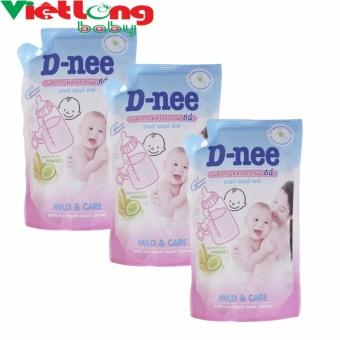 Bộ 3 túi nước rửa bình sữa D-nee 400ml