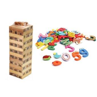 Bộ đồ chơi rút gỗ và bộ nam châm 26 chữ cái