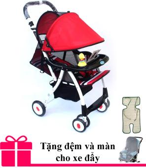 Xe nôi đẩy trẻ em Baobaohao 722C mẫu mới 2016 (Đỏ) + Tăng kèm chiếu cói và màn xe đẩy