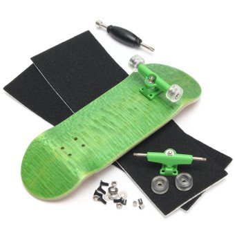 Basic Complete Wooden Fingerboard Finger Scooter with Bearing Grit Box Foam Tape Green - Intl