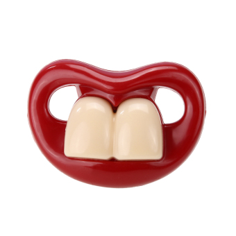 Silicone Funny Baby Pacifier Dummy Nipple Teethers (Red+White) - intl