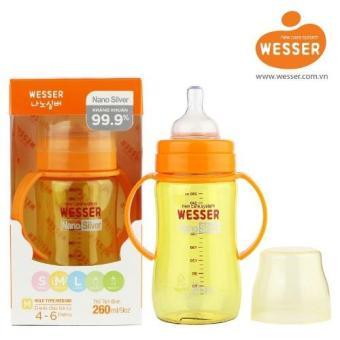 Bình sữa Wesser Nano Silver cổ rộng 260ml (Vàng chanh)