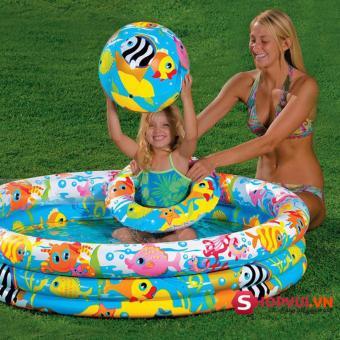 Bể bơi phao tròn 3 tầng cho bé (132x28cm) + Tặng bóng và phao bơi