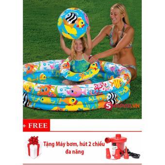 Bể bơi phao tròn 3 tầng cho bé (132x28cm) + Tặng bóng, phao bơi và Máy bơm, hút 2 chiều đa năng