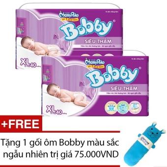 Bộ 2 tã giấy Bobby Fresh siêu thấm XL40 + Tặng 1 gối ôm Bobby