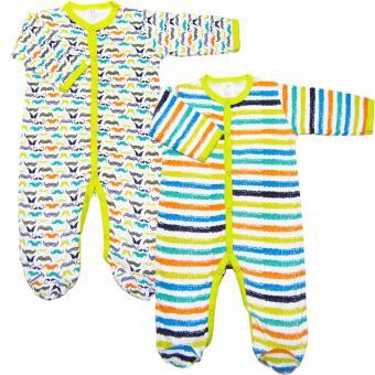 Bộ 2 áo liền quần kèm tất bé trai Baby Gear (Mẫu râu 23)