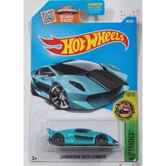 Xe ô tô mô hình tỉ lệ 1:64 Hot Wheels Lamborghini Sesto Elemento Hw Exotics (Xanh)