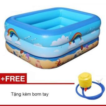 Bể bơi phao 3 tầng cho bé 130x92x52cm xanh dương( Tặng kèm bơm tay)