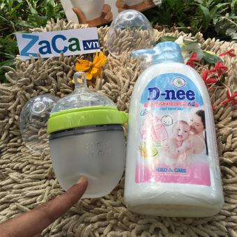 Bộ Bình Sữa Comotomo Silicone 150Ml (Xanh) Và Chai Nước Rửa Bình Sữa D-Nee 500Ml