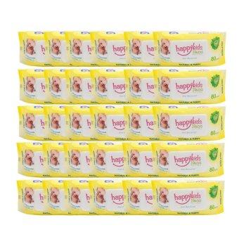Bộ 30 gói khăn ướt không mùi 80 tờ Happykids Nano (Vàng)