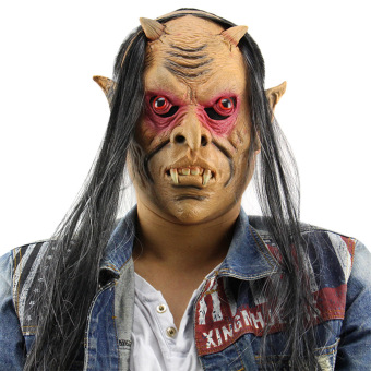 Horror Funny Red Eyes Devil Latex Mask with Wig for Masquerade Halloween - intl