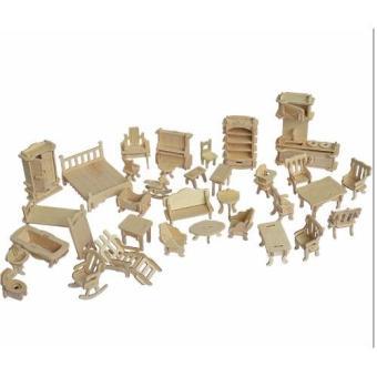 Đồ chơi ghép hình 3D bằng gỗ 184 chi tiết cho bé(Vàng nhạt)