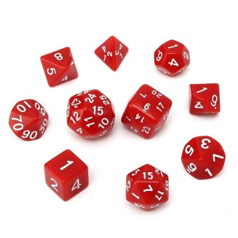 10pc/Set D4-D30 Multi-sided Dices 8color TRPG Games Gaming Dices Acrylic Red - intl