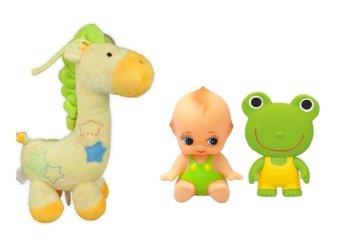 Bộ Chú hươu cao cổ bông kéo dây phát nhạc Shopconcuame Just one year (Vàng) và Bộ 2 đồ chơi búp bê bé cười và chút chít ếch xanh Toyroyal