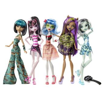 Bộ 5 búp bê Mattel Monster High Skull Shores Ghoulia Frankie Clawdeen Cleo De Nile & Draculaura
