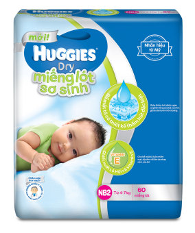 Miếng lót sơ sinh Huggies Newborn 2 NB2-60 4 - 7kg 60 miếng