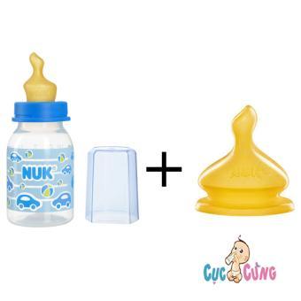 Bình sữa Nuk nhựa ty cao su cổ thường 110ml - Xanh dương + 1 ty cao su cùng size