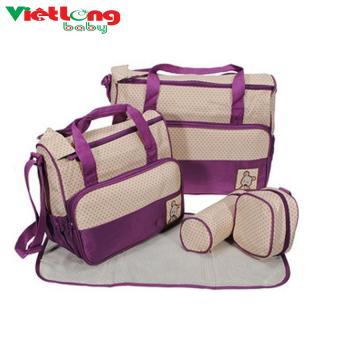 Túi đựng đồ cho mẹ và bé 5 chi tiết (Tím)