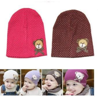 Bộ 2 mũ chấm bi cotton cho bé (Hồng nâu đậm)