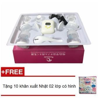 Máy hút sữa điện đôi Kichilachi tặng 10 khăn sữa xuất Nhật 2 lớp có hình