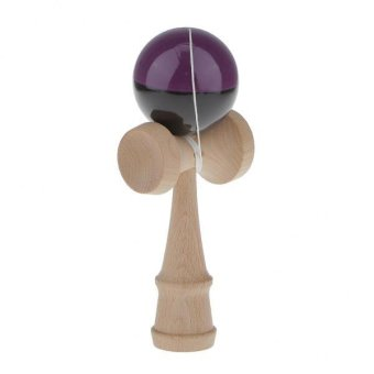 BolehDeals Wooden Dual-color Kendama Ball Kids Banlance Skill Toy Dark Purple & Black - intl