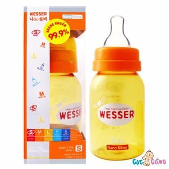 Bình sữa Wesser Nano Silver cổ thường 140ml(Vàng)