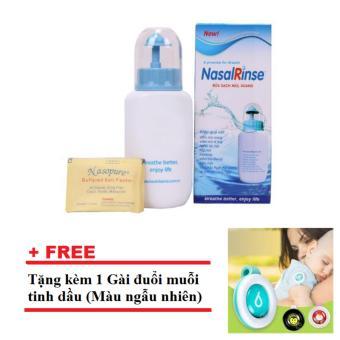Bình Rửa Mũi NasalRinse Kèm 10 Gói Muối + Tặng 1 Gài đuổi muỗi tinh dầu
