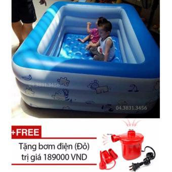Bể bơi phao 3 tầng hình chữ nhật loại 180cmx140cmx60cm + Tặng bơm điện