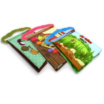 Bộ 3 sách vải có quai sillicon Pipo Vietnam (Hoa quả, hình khối, côn trùng)