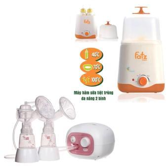 Máy hút sữa điện đôi có matxa silicone Unimom Forte và Máy hâm sữa tiệt trùng 2 bình cổ rộng FatzBaby FB3011SL