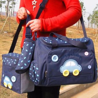 Bộ 3 túi xách cho mẹ và bé hình ôtô (Xanh đen) BS074