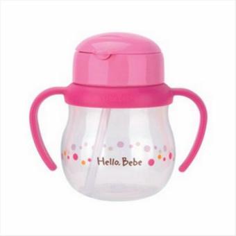Bình tập uống Hello Bebe có tay cầm, đầu ống hút dành cho bé 150ml-Màu hồng-HBB204P