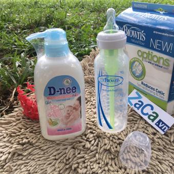 Bộ Bình Sữa Dr. Brown Option Cổ Hẹp 250Ml Và Chai Nước Rửa Bình Sữa D-Nee 500Ml  (Xanh Dương Nhạt)