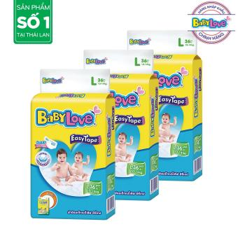 Bộ 3 tã dán BabyLove EasyTape L36 (10-14kg) - Gói 36 miếng