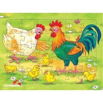 Bộ tranh xếp hình Đàn Gà 30 mảnh+ Tặng kèm 1 tranh tô màu cho bé