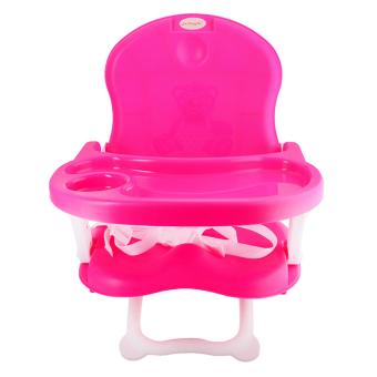 Ghế xếp ngồi ăn cho bé có đai an toàn ( Hồng )