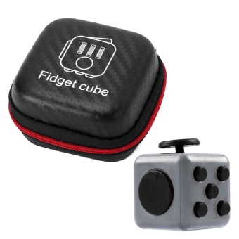 Mini Portable Fashion 1.3inches Fidget Cube Relieves Stress Anxiety 6-sides Desk Toy with Storage Bag for Children Adults Anxiety Attention Light-gray - intl