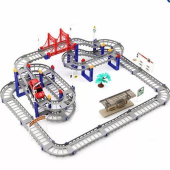 Bộ đồ chơi lắp ghép đường ray uốn lượn cho ôtô chạy