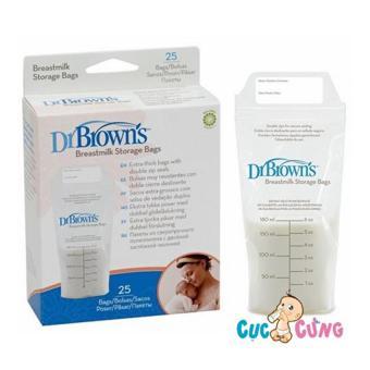Hộp 25 túi trữ sữa Dr Brown 180ml cao cấp
