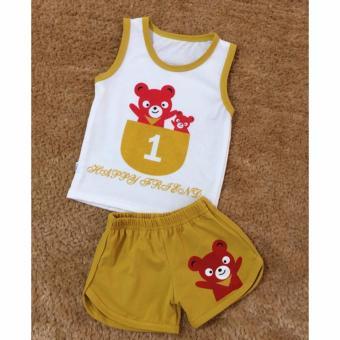Bộ quần áo trẻ em in hình số BTE015 (Màu nâu)