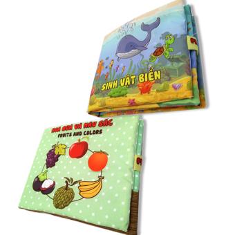 Bộ 2 sách vải cho bé chơi mà học Pipo - Sinh vật biển và hoa quả màu sắc