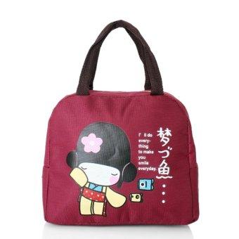 Túi giữ nhiệt hình cô gái Nhật Bản (Đỏ đô)