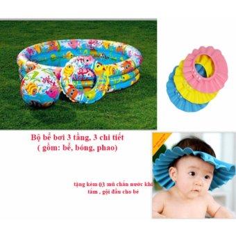 Bể bơi 3 tầng 3 chi tiết cho bé + tặng kèm 03 mũ chắn nước.